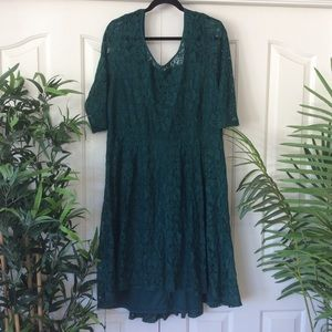 NWT Lane Bryant 20 Emerald Green Lace Midi Dress